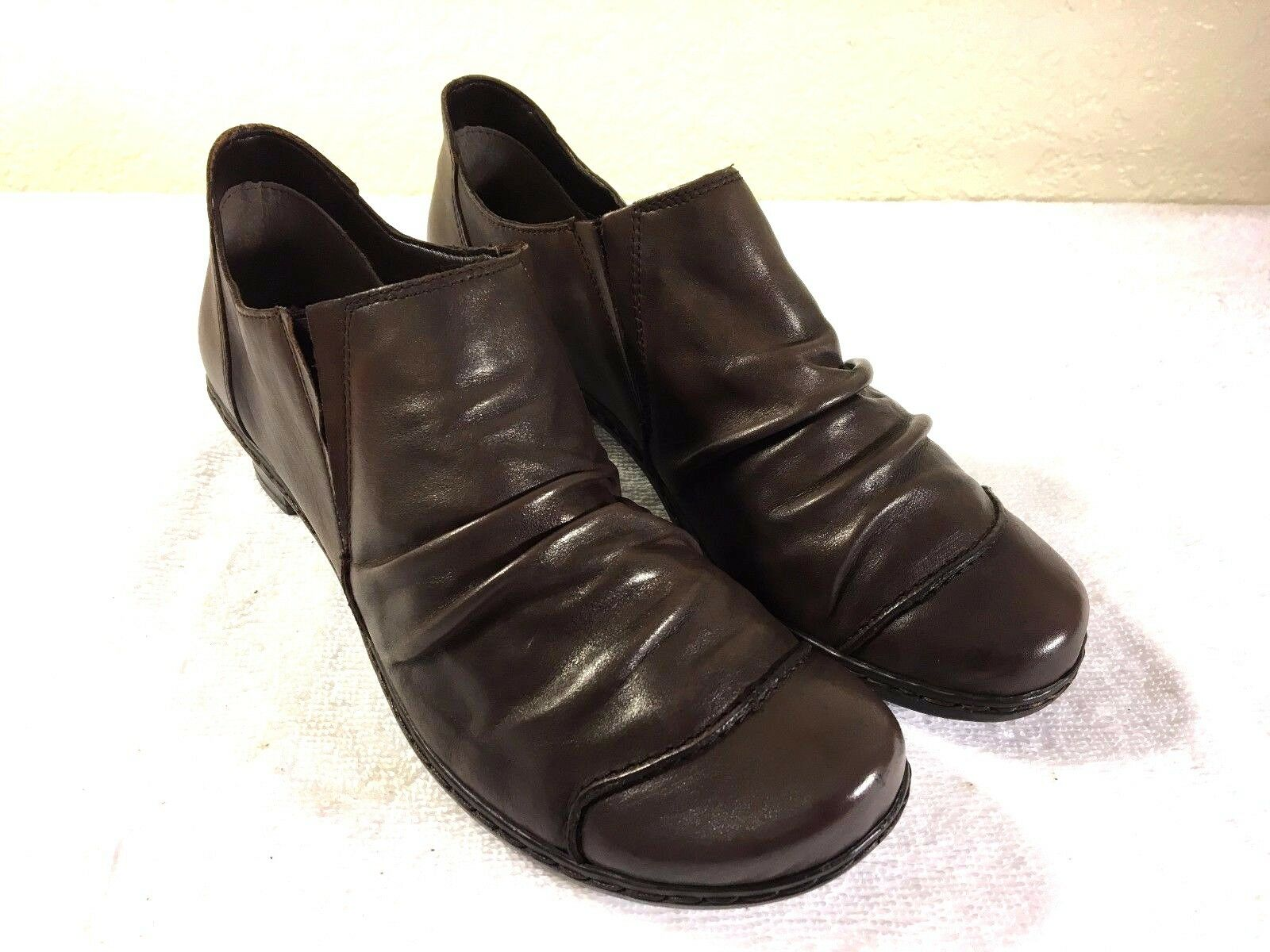 Rieker womens brown leather slip on low heels shoes size 37 Nice