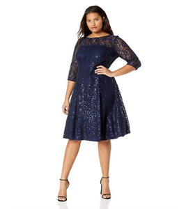 NEW SLNY S.L. Fashions Navy Lace and Sequin Fit and Flare Dress Größe 14