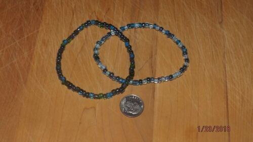 Seed Beaded Multi Colored **Blue Mixes** Stretch Bracelet