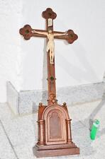 HANDCARVED OAK STAND CROSS CRUCIFIX 1880 19.5 in from Artillie Griebl munich