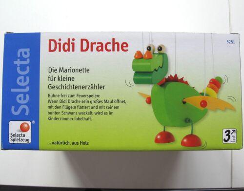kinder Holz Marionette Didi Selecta NEU OVP Drache grün 5251 3J