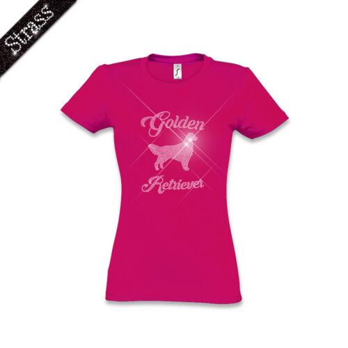 T Pièrres Chien M1 Femmes Image Retriever shirt Coton Golden Strass IqvraIZWw