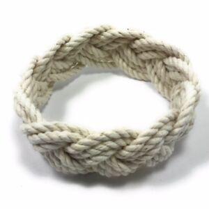 Image Is Loading Original Cotton Rope Sailor Knot Bracelet Natural White