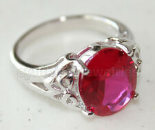 Oval cut Ruby Red & 925 Sterling Silver Ring w/ White Gold finished, 4631R Size7