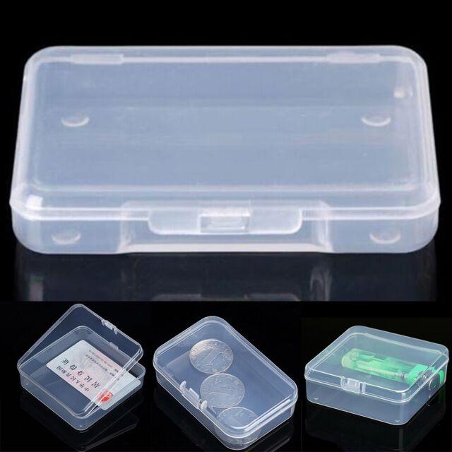 2PCS Small Transparent Plastic Storage Box Clear Square Multipurpose Display DSU