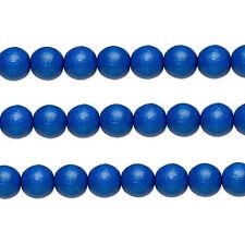 Wood Round Beads Dark Blue 8mm 16 Inch Strand