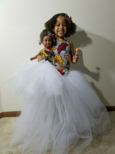 """Details about  /18/"""" Doll Tutu And Girl Ribbon African Ankara Top Tutu Skirt Wit Matchin Hair Bow"""