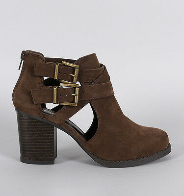 Womens Cut Out Strap Ankle Bootie Nubuck Buckle Stacked Heel Chunky Zipper Boots