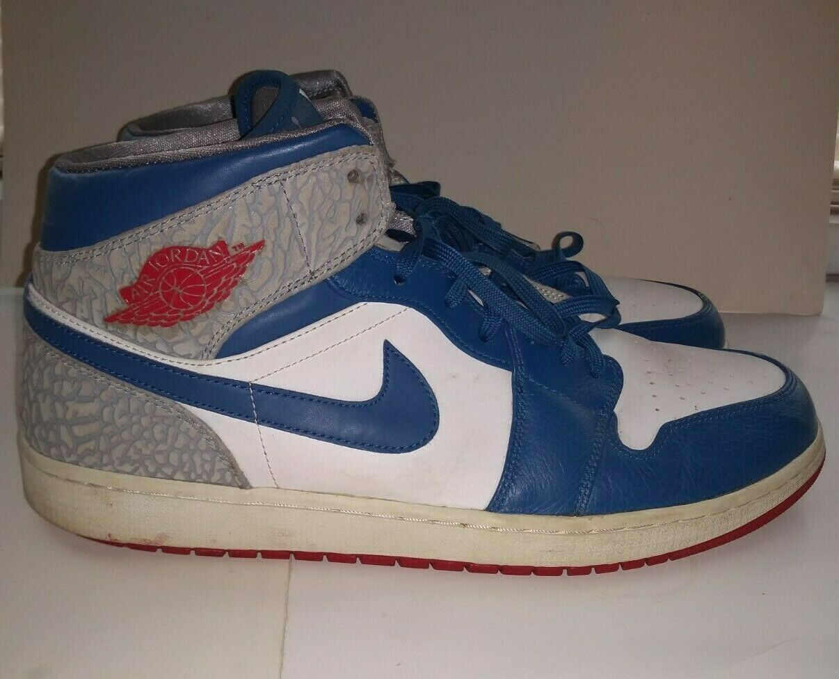 Air Jordan Retro 1 Mid True Blau rot grau Cement Größe 16