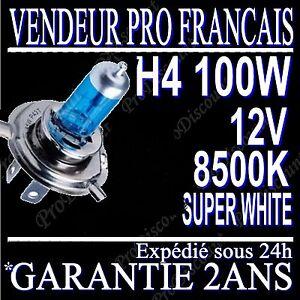 ampoule lampe halogene feu phare xenon gaz super white h4 100w 8500k 12v moto ebay. Black Bedroom Furniture Sets. Home Design Ideas