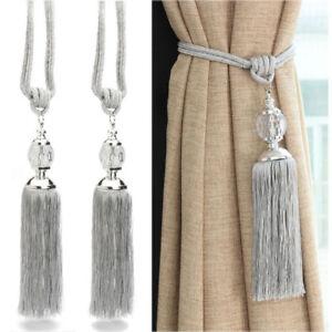 Pair Of Curtain Holdbacks Rope Tie Backs Tassel Tiebacks Crystal Ball Decor by Ebay Seller