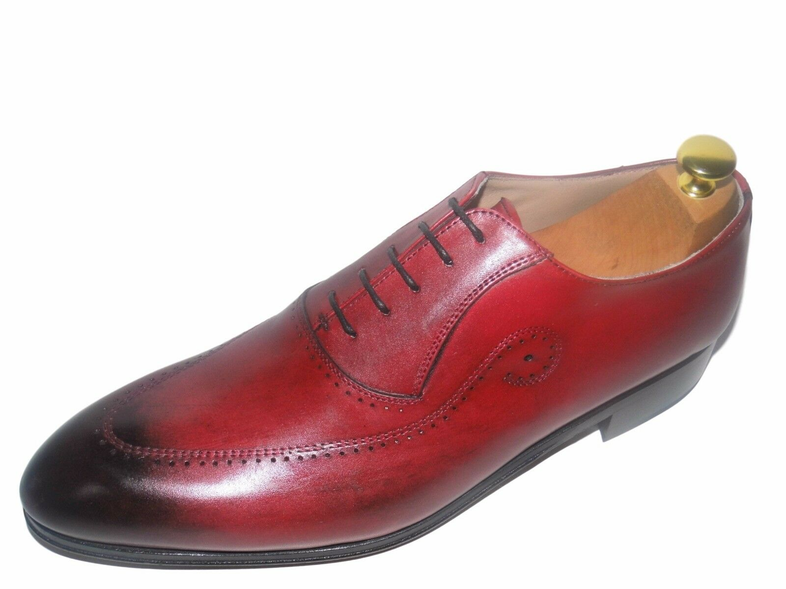 CHAUSSURE ITALIENNE LUXE HOMME ROUGE BORDEAUX NEUF COUSU MAIN