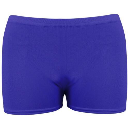 Childrens Stretch Hot Pants Shorts Gymnastic Dance Cheer Neon Bright Plain