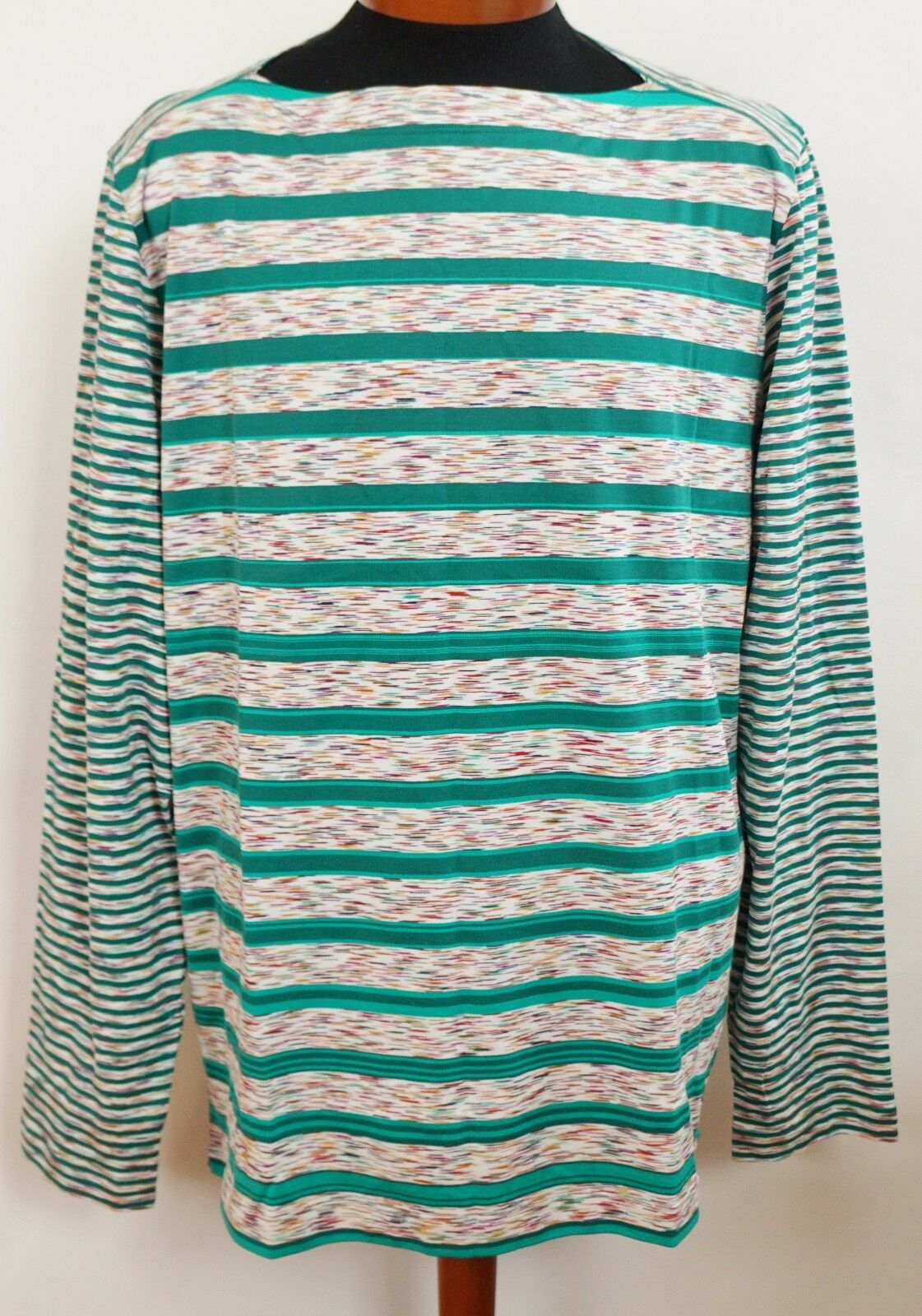 NWT Authentic MISSONI Multi-Farbeed 100% Cotton Long-Sleeve T-Shirt Top L