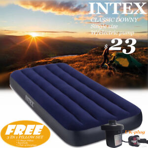 INTEX-Classic-Downy-AIRBED-Single-Cot-size-w-Electric-pump-UK-plug-Mattress