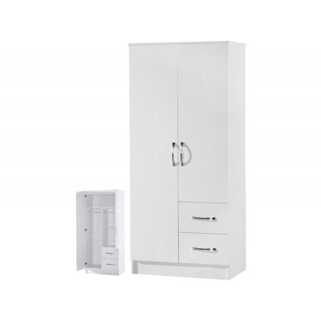 2 Door Wardrobe | 2 Drawers Combi | White High Gloss Two Tone | Furniture Units