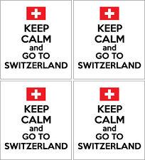 Mantieni la calma e vai alla Svizzera-SWISS/EUROPA x 4 adesivi in vinile 14cm x 9cm