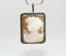 ITALIAN CAMEO HAND CARVED CONCH SHELL set in .925 Sterling Silver