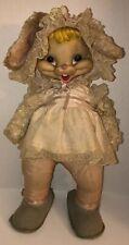 "50s 60s RUSHTON Bunny Rabbit 24"" Plush Dress Bonnet Star Creations Rubber Face"