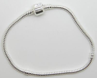Bracelet charms maille serpent fermoir par clip en métal argenté 4 tailles