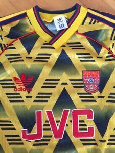Arsenal Away Shirt Bruised Banana 1991-1993 Size 38,40, Adidas JVC Original