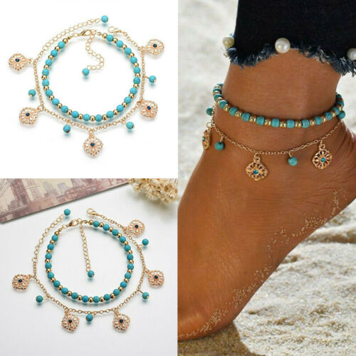Boho Fashion Turquoise Beaded Beach Anklet Foot Chain Jewelry Ankle Bracelet