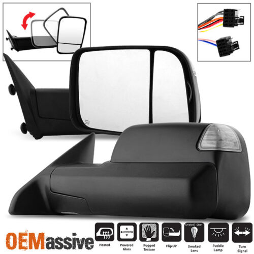 Fit 2009-2011 Dodge Ram Pickup Truck Power Heated LED Signal Towing Side Mirror