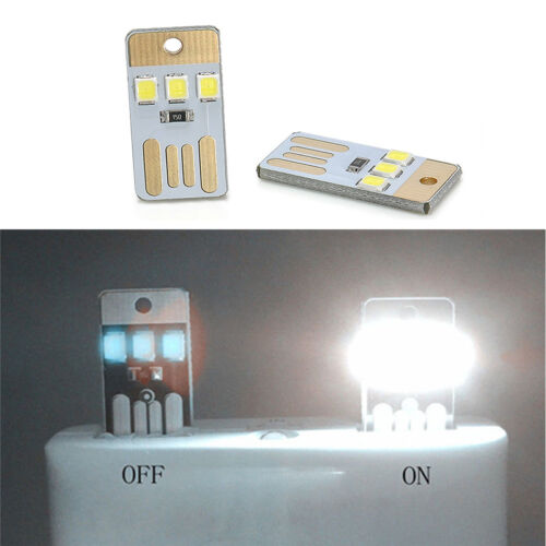 2pcs Portable Mini universal USB Laptop 3 LED Light Pocket Card Night Lamp New
