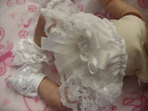 DREAM BABY WHITE VIENESSE KNICKERS AND SOCKS SET ALL SIZES AVAILABLE OR REBORN