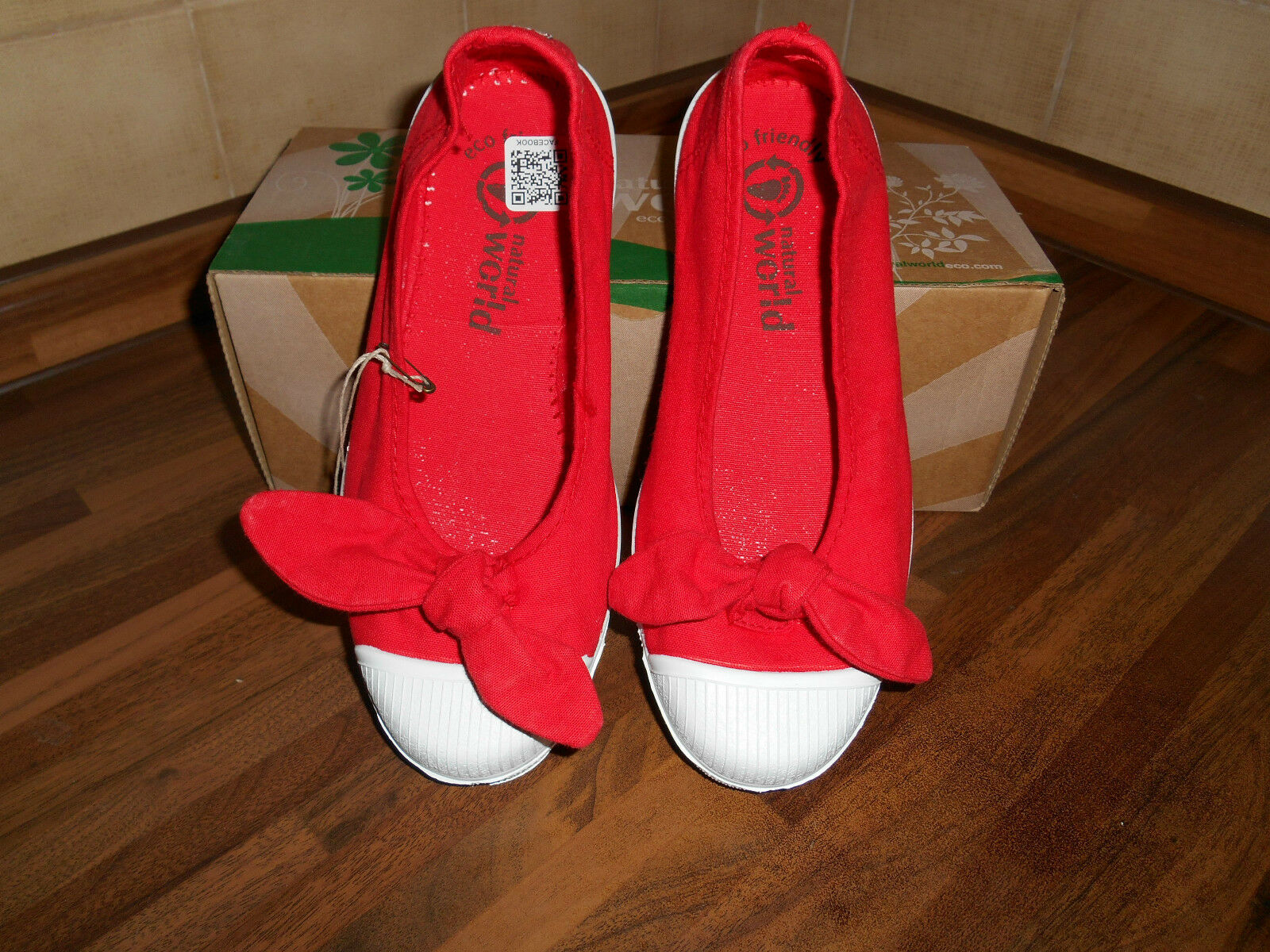 NATURAL WORLD WOMAN BALLERINA SHOES SUMMER CANVAS SALON LASSO RED