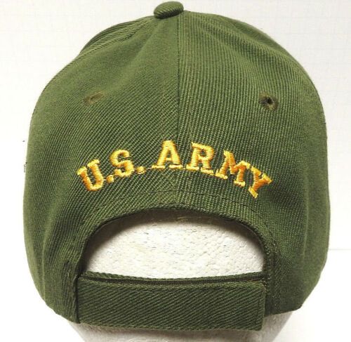 U.S.ARMY RETIRED Cap//Hat w//Eagle /& Flag OD Green Military FREE SHIPPING