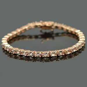 Unheated-Gemstone-14K-Rose-Gold-Plating-925-Silver-Morganite-Tennis-Bracelet