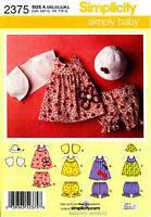 Simplicity Pattern 2375 Baby Girl Clothes Xxs-l Dress Top Bolero Panties Hat