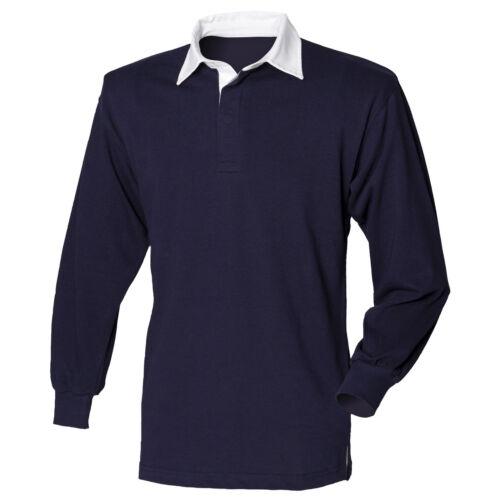 Plain BLUE PINK GREEN RED PURPLE Cotton Long Sleeve Rugby Shirt No Logo S-4XL