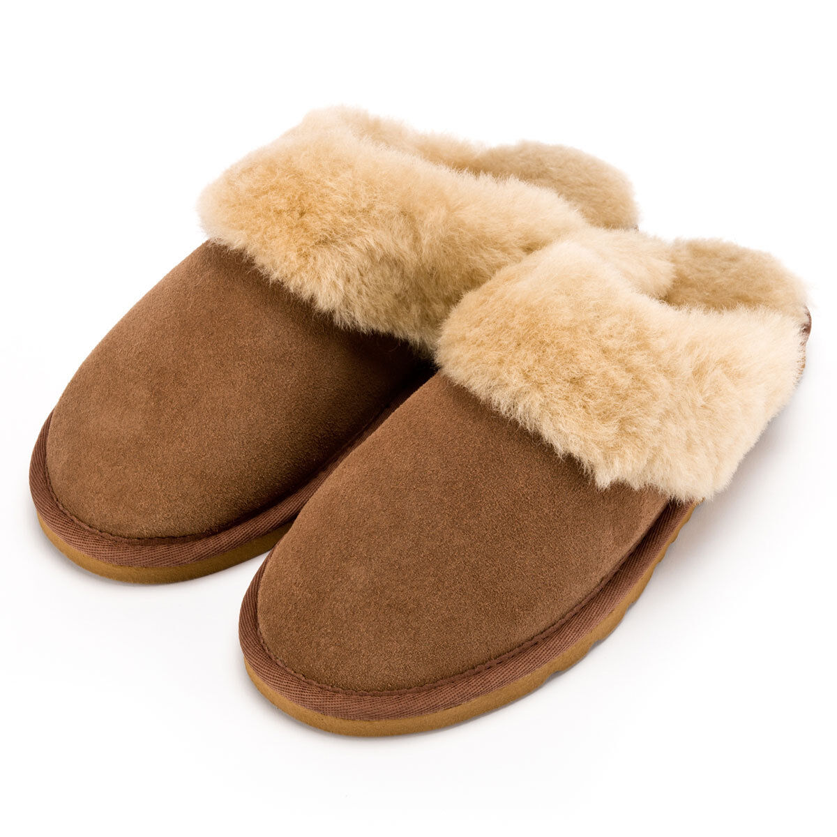 LADIES SHEEPSKIN SLIPPERS MULES 100% GENUINE SHEEPSKIN CHESTNUT