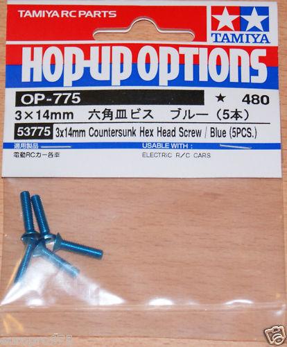 Tamiya 53775 3x14mm Countersunk Hex Head Screw 5 Pcs. TRF416//TRF417 Blue