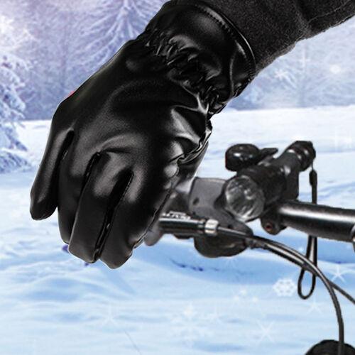 Women/'s Leather Gloves Winter Full Finger Mens Motorcycle Driving Warm Gloves