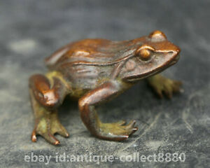 57MM-137G-Collection-Chinese-Pure-Bronze-Animal-Lucky-Frog-Qingwa-Small-Statue