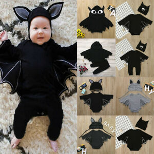 Newborn Baby Boys Girls Halloween Cosplay Romper Jumpsuits+Hat Outfits Clothes