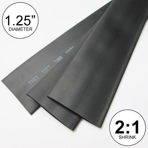 "1.25/"" ID Black Heat Shrink Tube 2:1 ratio wrap inch//ft//to 30mm 2x24/"" = 4 feet"