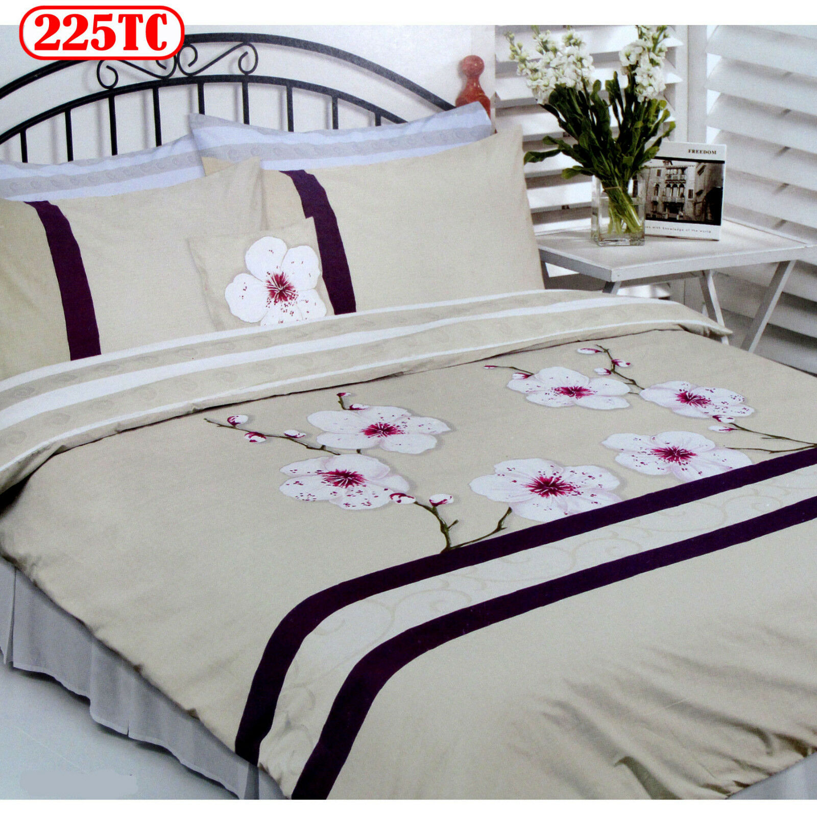 225TC CHERRY BLOSSOM Quilt   Duvet Cover Set - DOUBLE QUEEN KING or Cushion