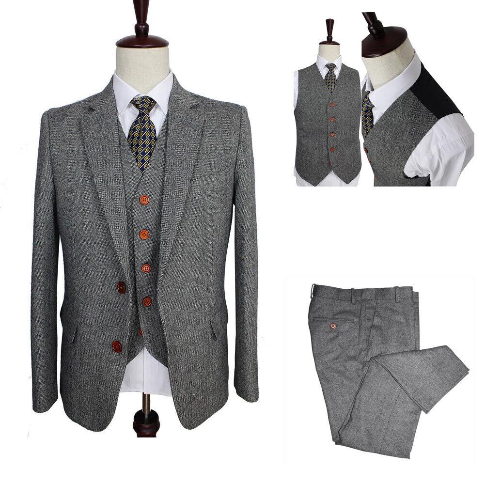 Herren Kohle Esche 3 Piece Tweed Anzüge Besondere Smoking Hochzeit Feier Anzüge