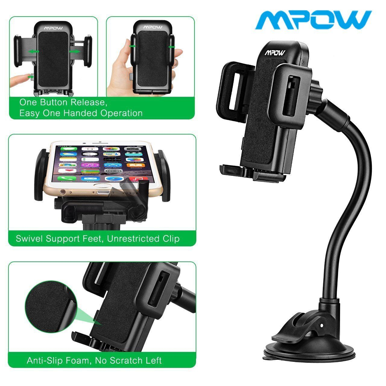 Mpow Universal Long Arm Windshield Dashboard Car Mount Holde