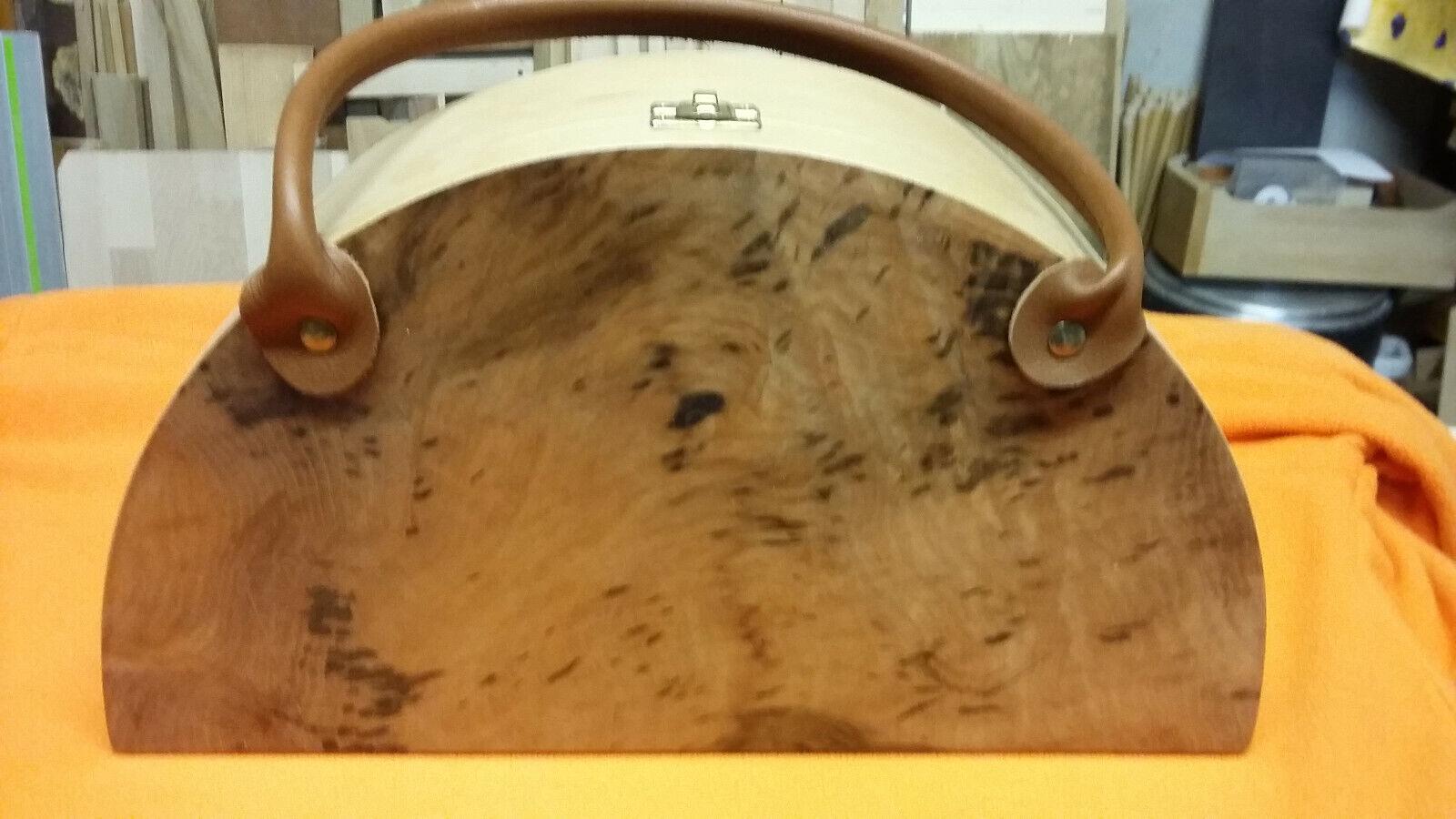 Damen-Handtasche, Holztasche aus edlem Buchen-Wurzelfunier mit Griffen