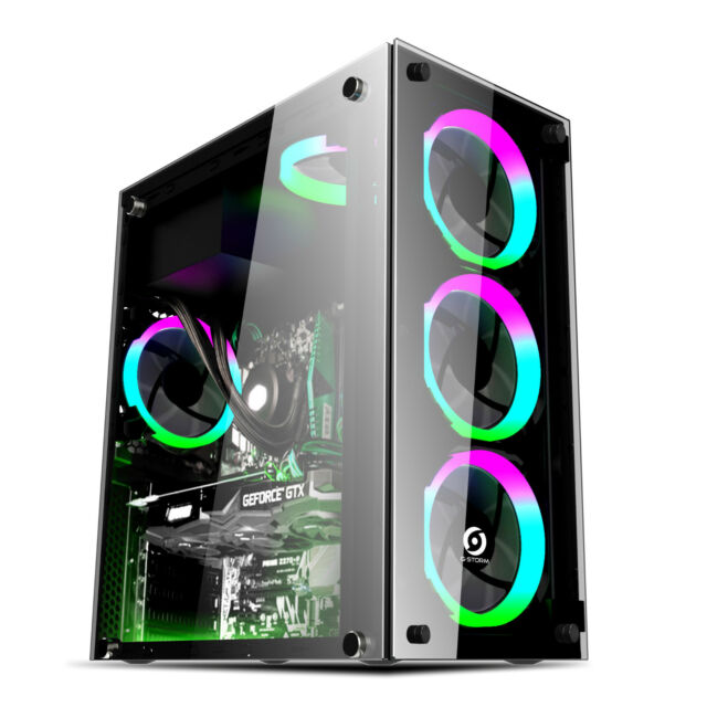 YG-Glas  Pc Gehäuse USB 3.0 ATX ,Tower  schwarz