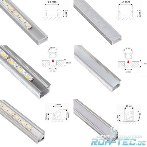 Abdeckung zur Auswahl opal//klar 1m ALU-Profil aus 5 eloxierten LED Leisten