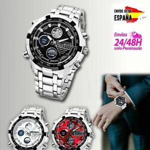Detalles de Reloj de pulsera para hombre de acero inoxidable estilo deportivo con crono