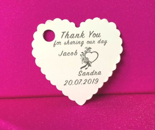 Personalised Wedding Favour Heart Tags Thank You//Guest Gift Labels Handmade Tag