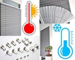 100-Thermo-Plissee-Klemmfix-Verdunkelung-Faltrollo-ohne-Bohren-Klemmtraeger-easy