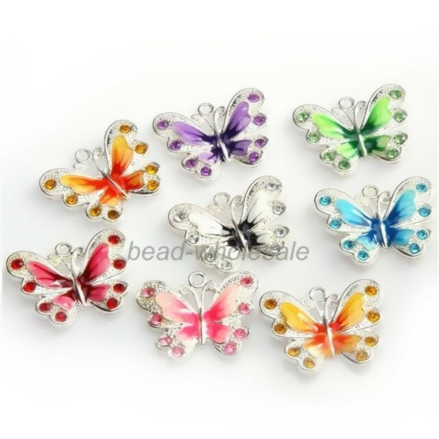 7Colour 5/10pcs Silver Plated Enamel Rhinestone Crystal Butterfly Charms Pendant